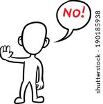 doodle small person   saying no | Shutterstock .eps vector #190185938