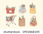 shopping bags and grocery... | Shutterstock .eps vector #1901868145