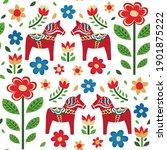swedish dala horse pattern.... | Shutterstock .eps vector #1901875222