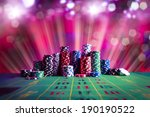 poker chips on a gaming table... | Shutterstock . vector #190190522