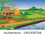 straw hut and paddy field at... | Shutterstock .eps vector #1901950768