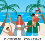family at the sea  resort. flat ... | Shutterstock .eps vector #1901954605