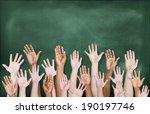 multiethnic group of hands... | Shutterstock . vector #190197746