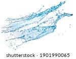 Blue Water Splash Isolated On...