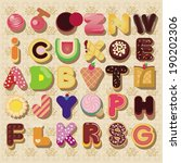 delicious alphabet set | Shutterstock .eps vector #190202306