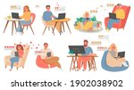 couples virtual chat. people... | Shutterstock .eps vector #1902038902