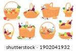 picnic baskets. wicker hampers... | Shutterstock .eps vector #1902041932