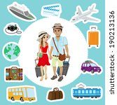 travel set  couple | Shutterstock .eps vector #190213136