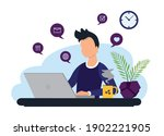 home office concept  young man...   Shutterstock .eps vector #1902221905