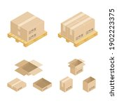 isometric cardboard boxes on... | Shutterstock .eps vector #1902223375