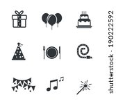 party icons and celebration...