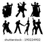 set of black contours dancing... | Shutterstock .eps vector #190224902
