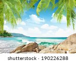Tropical Beach With Palm Trees...