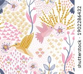 hummingbird and cherry blossom...   Shutterstock .eps vector #1902286432