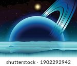Vector art of a science fiction space scene featuring a ringed gas giant as seen from its icy moon