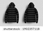 black puffer jacket mockup set  ... | Shutterstock .eps vector #1902357118