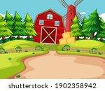 background scene with red barn... | Shutterstock .eps vector #1902358942