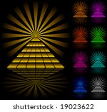 color pyramids on black... | Shutterstock .eps vector #19023622