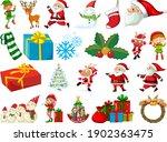 Set Of Santa Claus Cartoon...