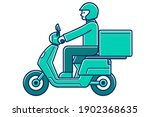 deliveryman on a motorcycle.... | Shutterstock .eps vector #1902368635