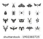 Black Flat Style Icon Set Of...