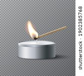 match igniting tea candle wick. ... | Shutterstock .eps vector #1902385768