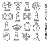 chess line icons set on white... | Shutterstock . vector #1902414535