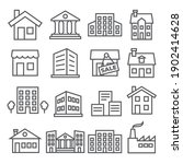 buildings and houses line icons ... | Shutterstock . vector #1902414628
