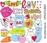 romantic vector set. love. kiss.... | Shutterstock .eps vector #190241885