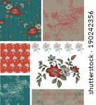 teal floral seamless patterns... | Shutterstock .eps vector #190242356