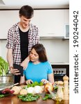 couple cooking with electronic ... | Shutterstock . vector #190244042
