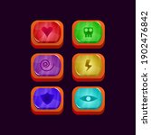 set of game ui glossy colorful...
