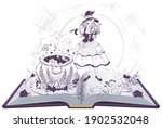 young beautiful witch brews...   Shutterstock .eps vector #1902532048