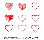 hand drawn hearts set.  vector... | Shutterstock .eps vector #1902573958