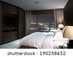 Stock photo bright and brand new interior of european bedroom 190258652