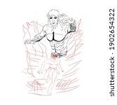 simple drawing sketch  line art ... | Shutterstock .eps vector #1902654322