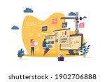 web development concept in flat ... | Shutterstock .eps vector #1902706888