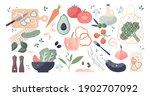 vegetable elements set as... | Shutterstock .eps vector #1902707092