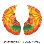 wings in egyptian style. hand... | Shutterstock .eps vector #1902749962