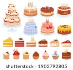 delicious desserts  pastries ... | Shutterstock .eps vector #1902792805