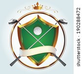 Premium golf club vector logo with gold embellishments