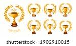 gold trophy cups with laurel... | Shutterstock .eps vector #1902910015