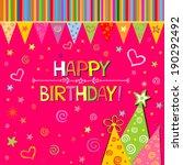 happy birthday card.... | Shutterstock .eps vector #190292492