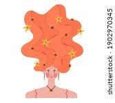 portrait of girl with raised... | Shutterstock .eps vector #1902970345