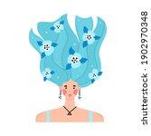 portrait of girl with raised... | Shutterstock .eps vector #1902970348