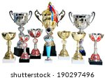 Set of gold and silver trophies, cups winner isolated on white background, no people, no body. - stock photo