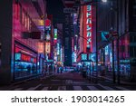 Small photo of A night of the neon street at the downtown wide shot. Shinjuku district Tokyo Japan - 08.29.2019 Here is an electric quarter in Tokyo. It is center of the city in Tokyo.