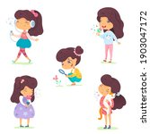 girl showing five senses set.... | Shutterstock .eps vector #1903047172