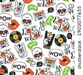 rock background with skulls and ... | Shutterstock .eps vector #1903077655