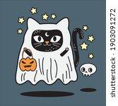 scary cat boo enjoying halloween   Shutterstock .eps vector #1903091272